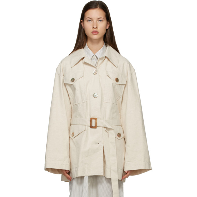 Acne Studios Off-white Cotton Belted Jacket In Aeb Cream