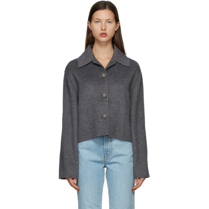 Acne Studios Grey Wool Cropped Jacket In 990 Grey