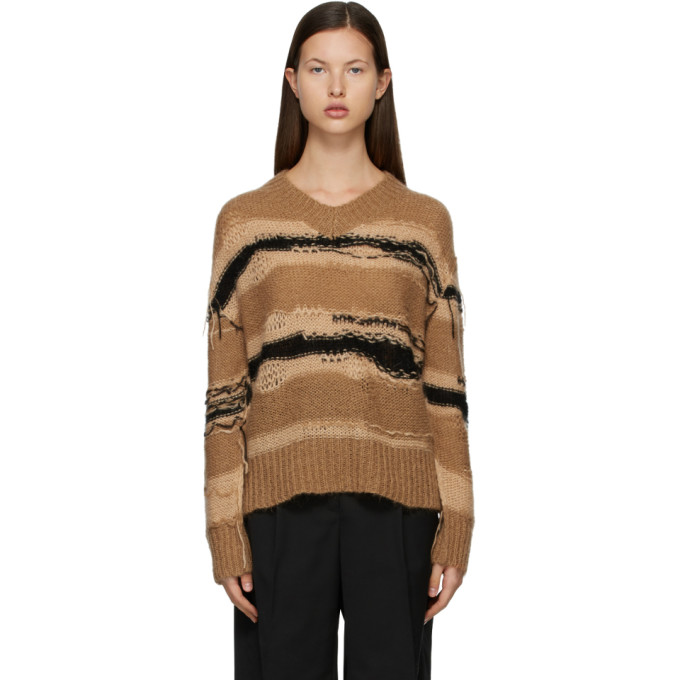 Acne Studios ACNE STUDIOS TAN AND BLACK STRIPED SWEATER