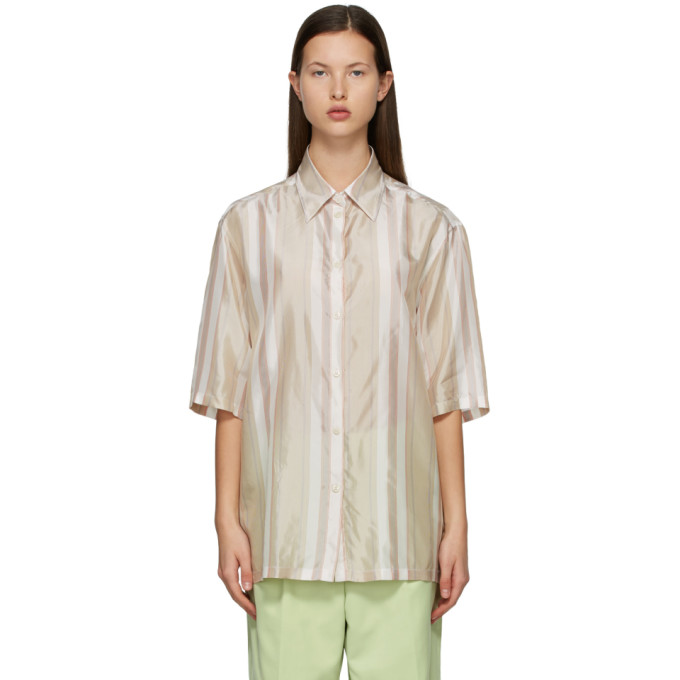 Acne Studios ACNE STUDIOS BEIGE AND RED STRIPED SHORT SLEEVE SHIRT
