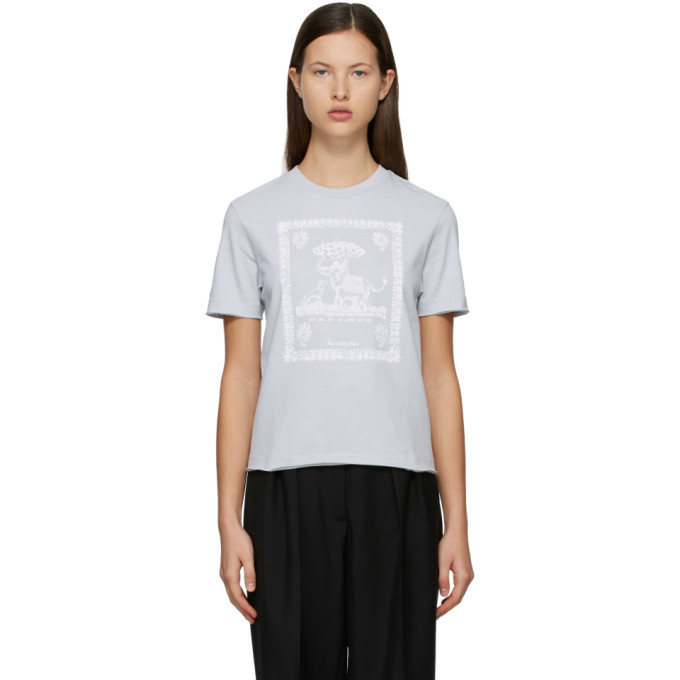 Acne Studios ACNE STUDIOS BLUE GRAPHIC T-SHIRT