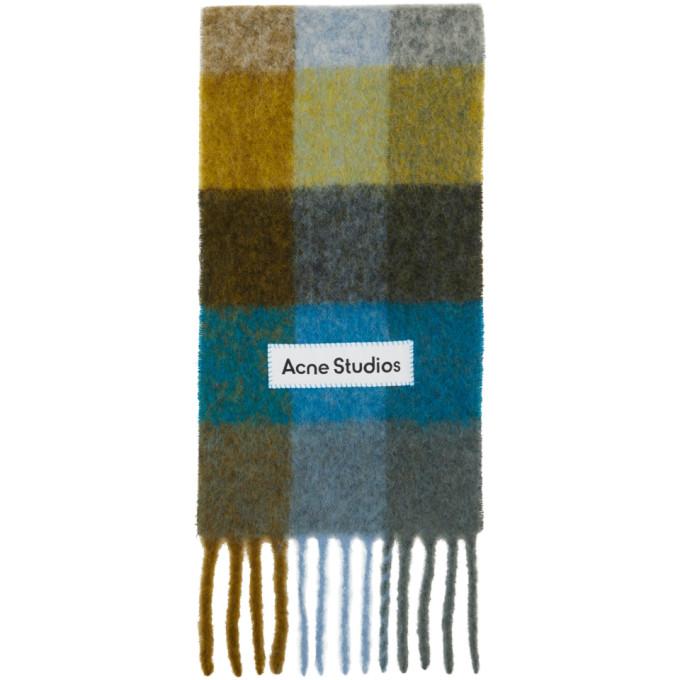 Acne Studios Foulard en alpaga et mohair vert et bleu Large Check