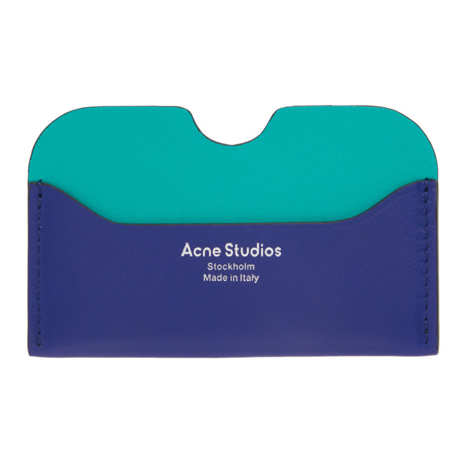 Acne Studios Blue Logo Card Holder  - buy with discount