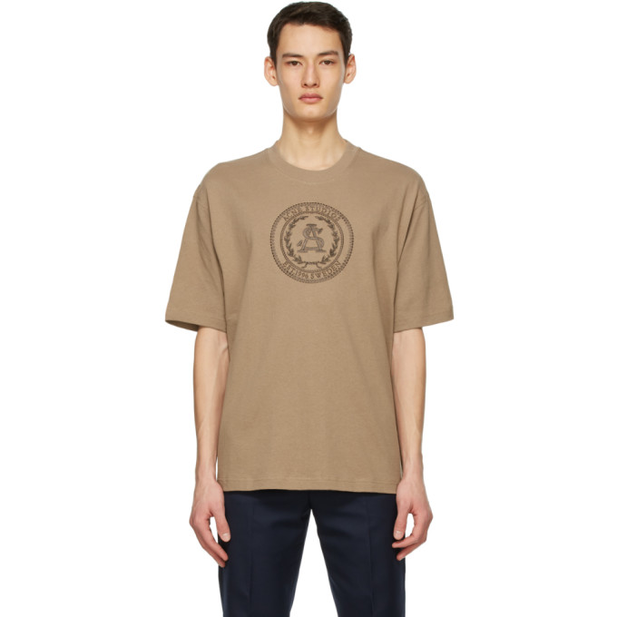 Acne Studios ACNE STUDIOS BROWN EMBROIDERED T-SHIRT