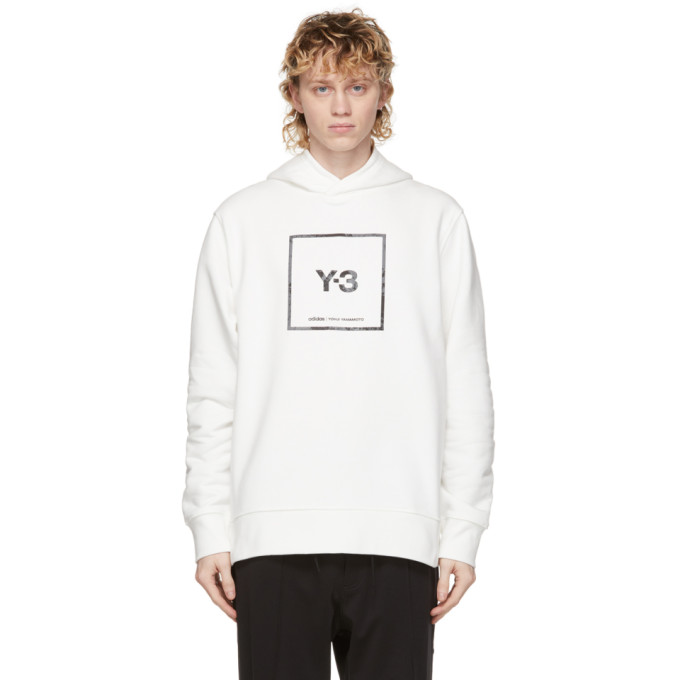 Y-3 Y-3 WHITE U SQUARE LABEL GRAPHIC HOODIE
