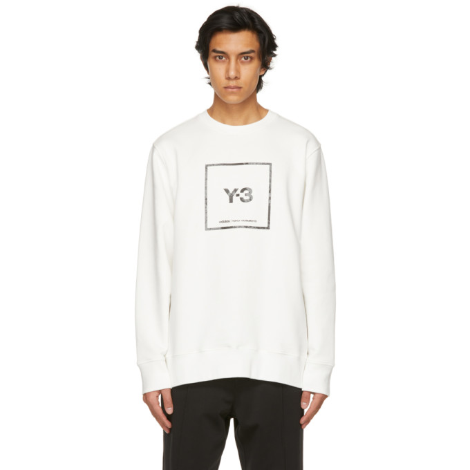 Y-3 ホワイト Reflective Square ロゴ スウェットシャツ