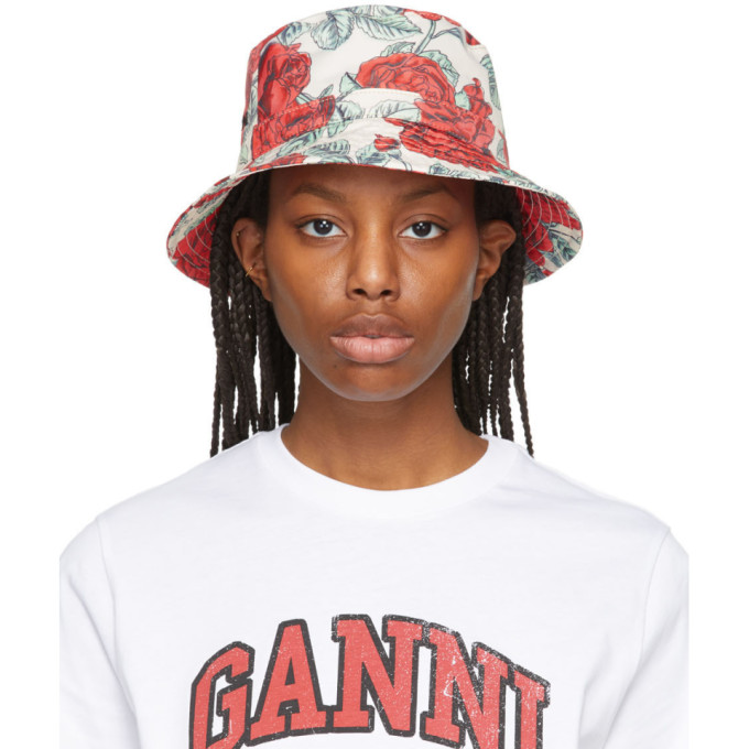 Ganni Hats GANNI OFF-WHITE AND RED RECYCLED TECH SEASONAL BUCKET HAT