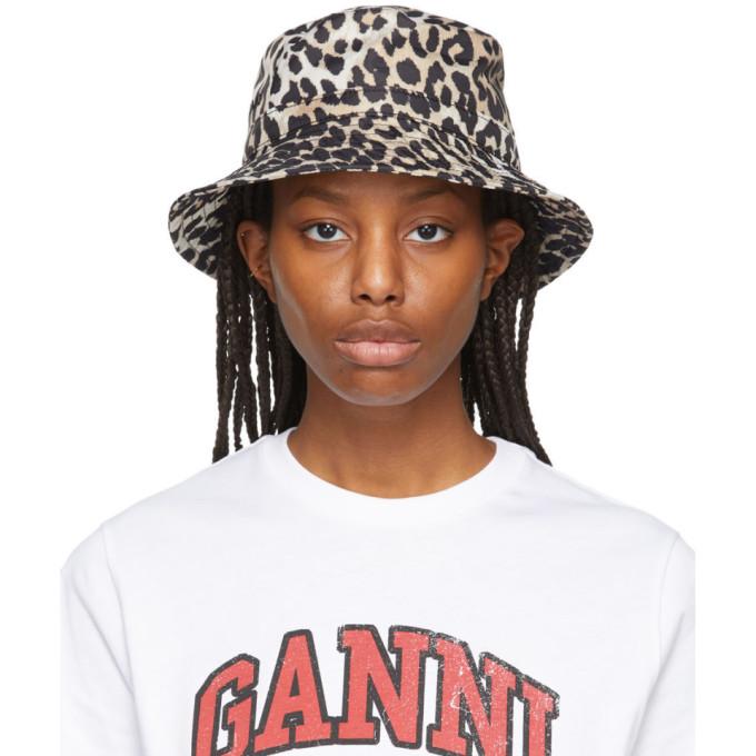 Ganni Hats GANNI BEIGE AND BLACK RECYCLED TECH LEOPARD BUCKET HAT