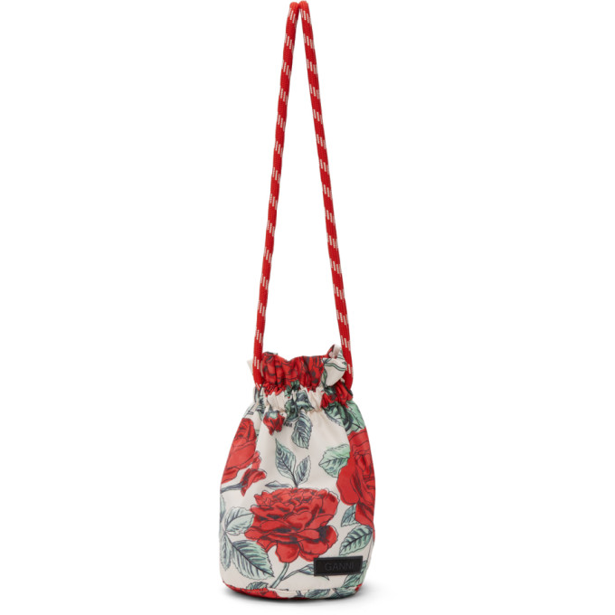 Ganni GANNI OFF-WHITE AND RED RECYCLED TECH SEASONAL DRAWSTRING POUCH