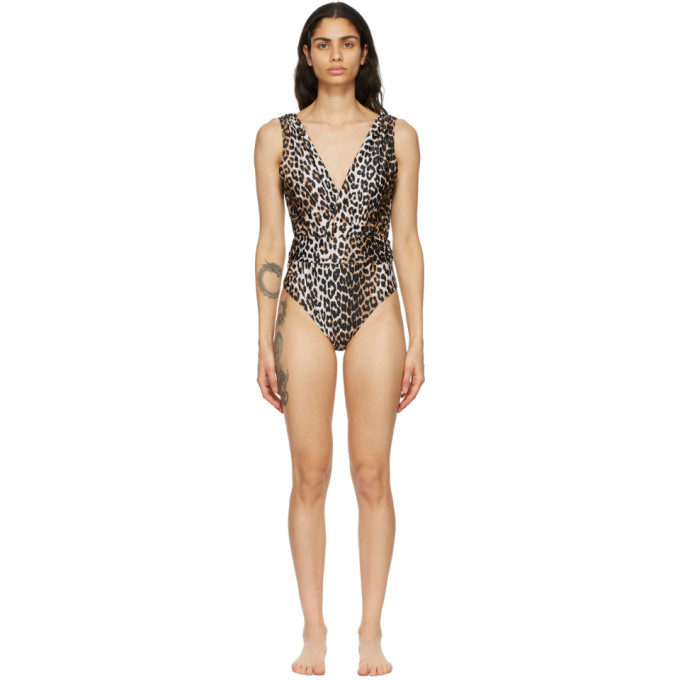 Ganni GANNI BLACK AND BROWN RECYCLED ONE-PIECE SWIMSUIT