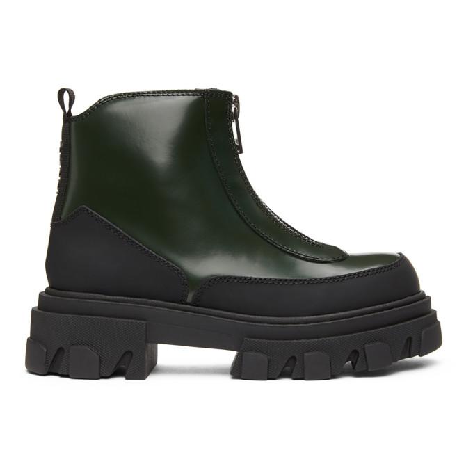 GANNI Green Brush Off Zipper Boots