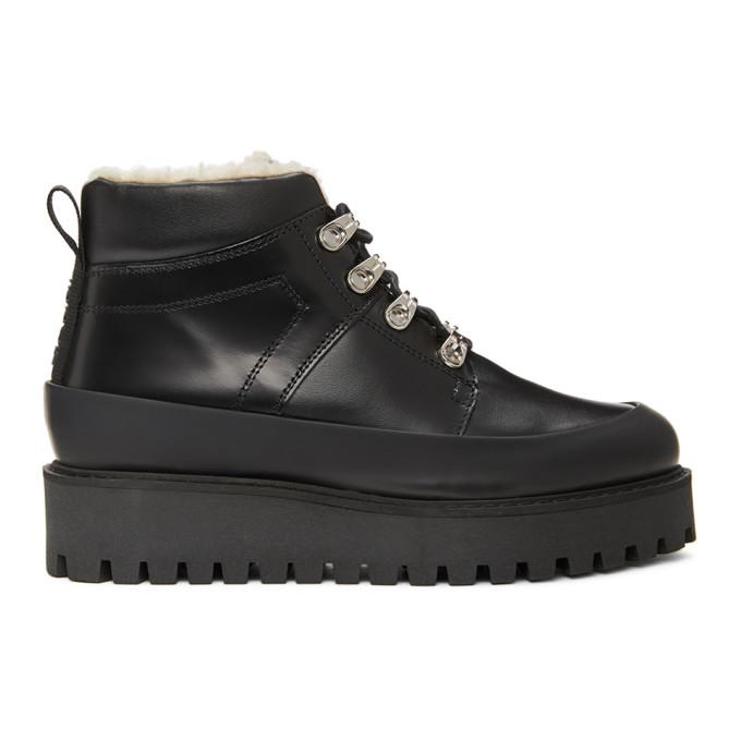 GANNI Black Brush Off City Hiking Boots