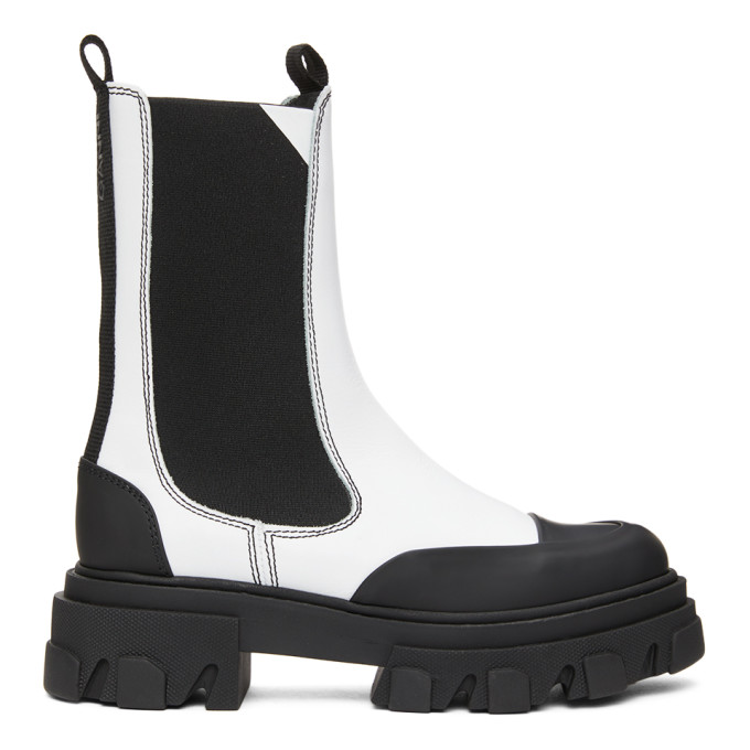 GANNI White Leather Mid-Calf Chelsea Boots