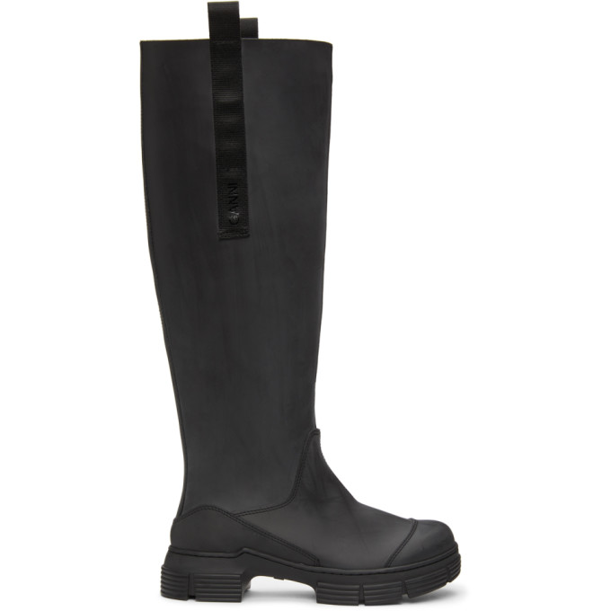 GANNI Black Recycled Rubber Country Boots