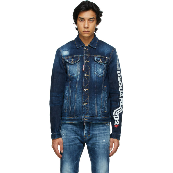 Dsquared2 Washed-effect Stretch Cotton Denim Jacket In 470 Blue