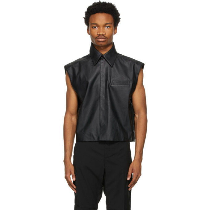 Situationist Black Vegan Leather Shirt Vest  - buy with discount
