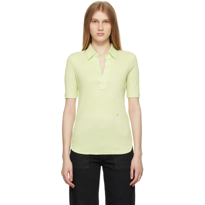 Helmut Lang Cottons HELMUT LANG GREEN COTTON SKINNY POLO