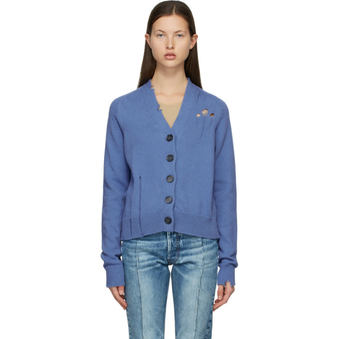 Maison Margiela MAISON MARGIELA BLUE DESTROYED CARDIGAN