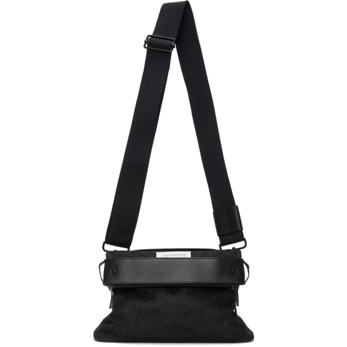 Maison Margiela MAISON MARGIELA BLACK NYLON SMALL MESSENGER BAG
