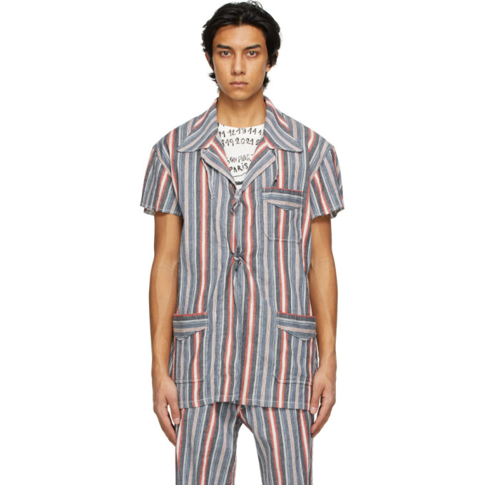 Maison Margiela MAISON MARGIELA MULTICOLOR LINEN STRIPE SHORT SLEEVE SHIRT