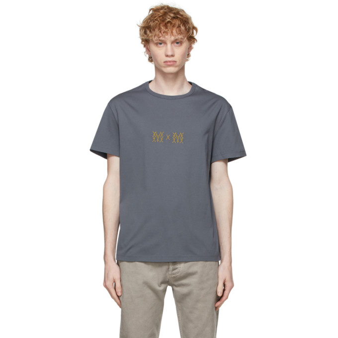 Maison Margiela Grey Logo-embroidered Cotton T-shirt In 509 Steel Blue