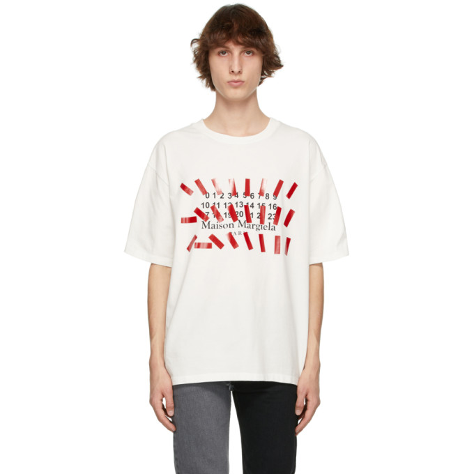 Maison Margiela Logo Printed Regular Cotton T-shirt In 101 Off White