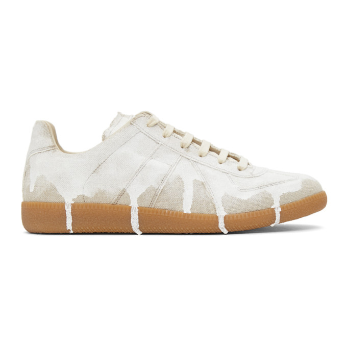 Maison Margiela Men's Replica Bianchetto Low-top Sneakers In H8545 Natur