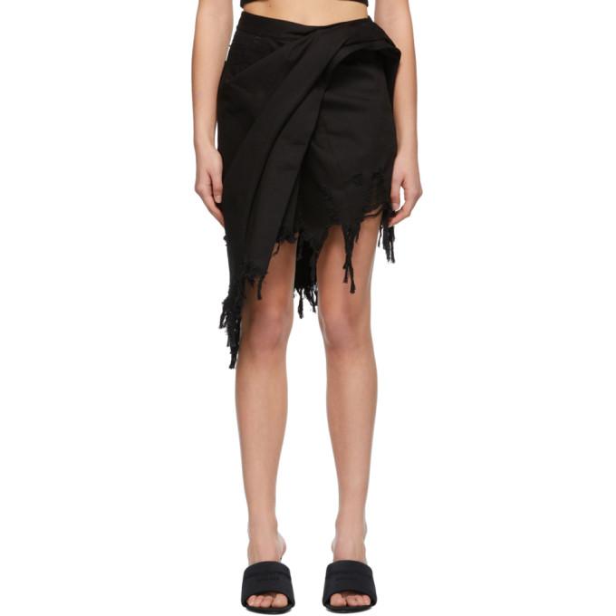 Alexander Wang Frayed Asymmetric Wrap-effect Denim Mini Skirt In 001 Black