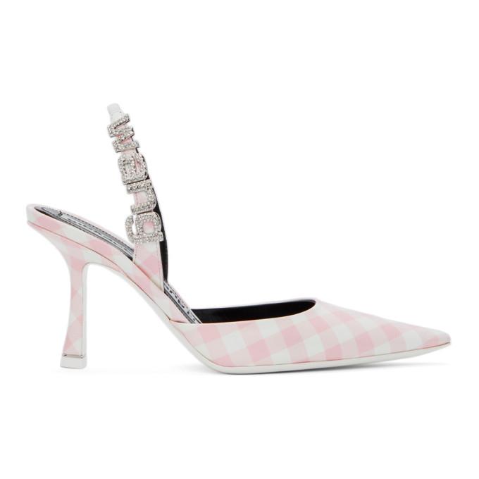 Alexander Wang Pink & White Gingham Grace Slingback Heels In 682 Cradle Pink