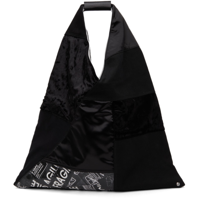 Mm6 Maison Margiela Leathers MM6 MAISON MARGIELA BLACK PATCHWORK TRIANGLE TOTE