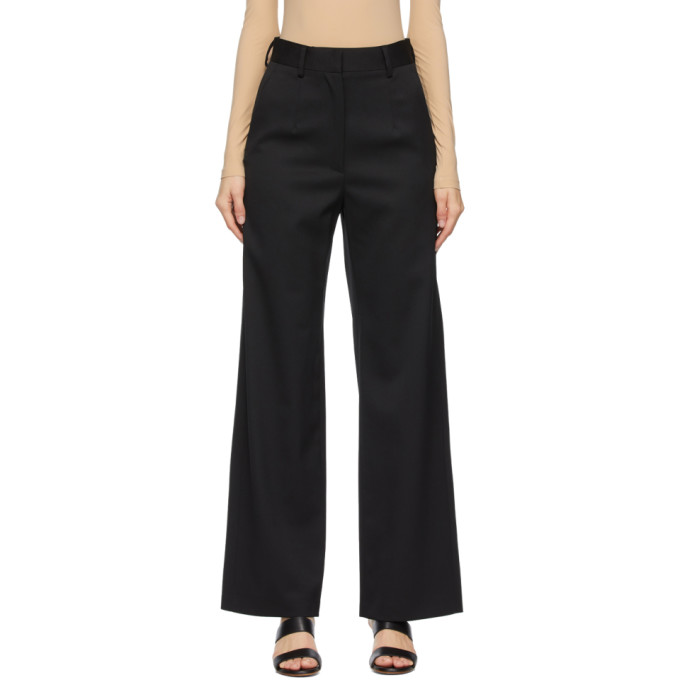 Mm6 Maison Margiela MM6 MAISON MARGIELA BLACK WOOL WIDE-LEG TROUSERS