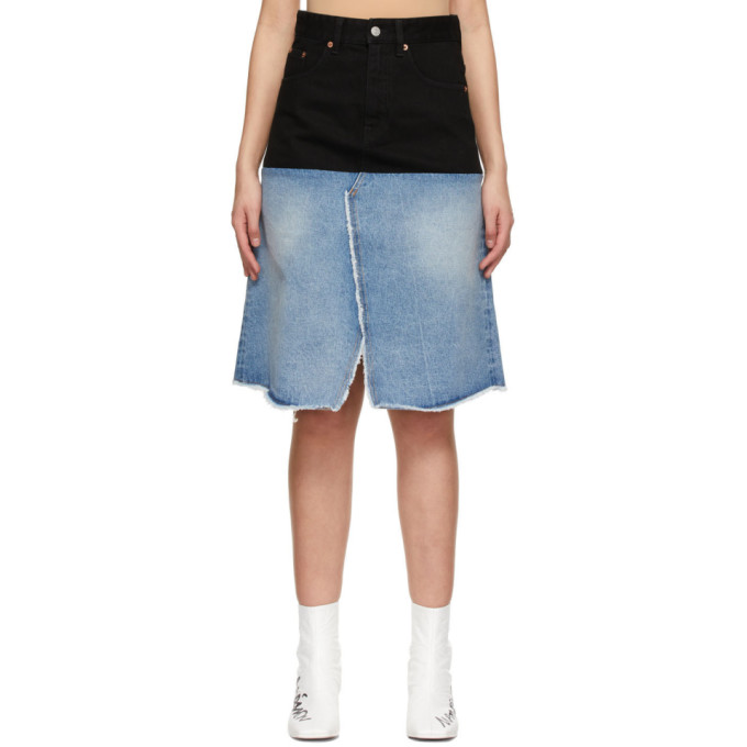 Mm6 Maison Margiela MM6 MAISON MARGIELA BLACK AND BLUE DENIM CONTRAST SKIRT