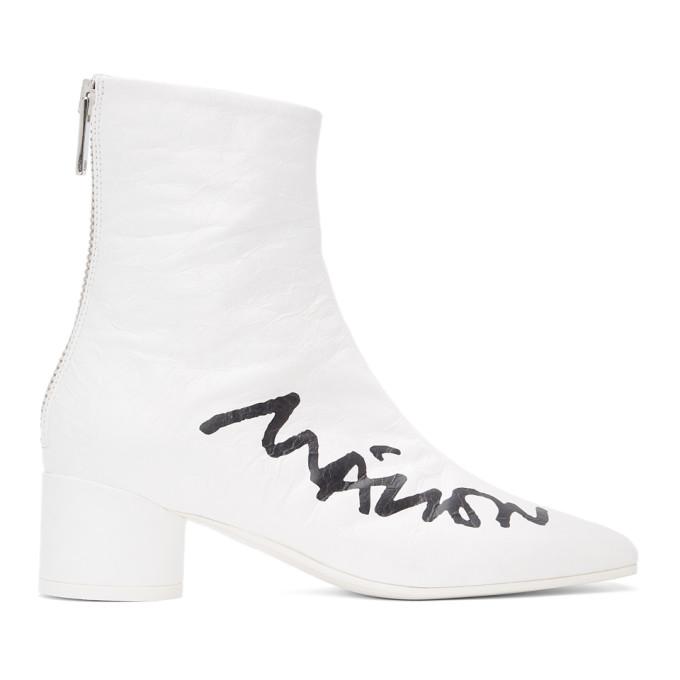 Mm6 Maison Margiela Shoes MM6 MAISON MARGIELA WHITE CRINKLED LOGO BOOTS