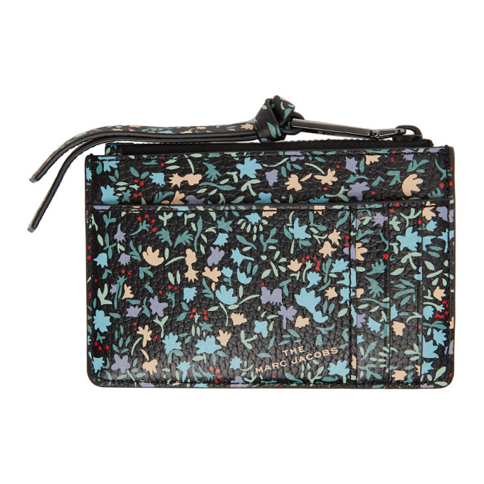 MARC JACOBS Wallets MARC JACOBS BLACK DITSY FLORAL THE SOFTSHOT TOP ZIP WALLET