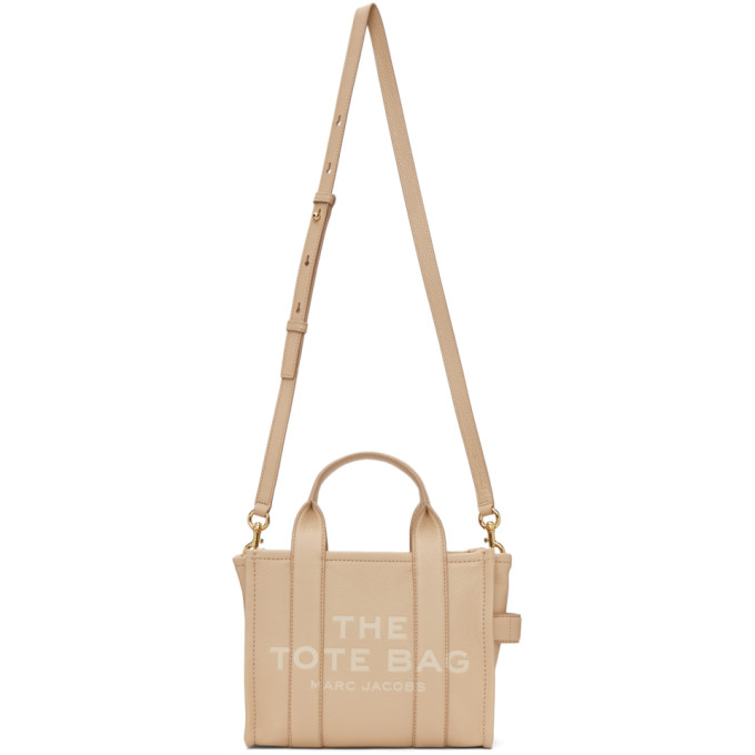 Marc Jacobs Beige Leather 'the Mini Traveler' Tote Bag In 914 Twine