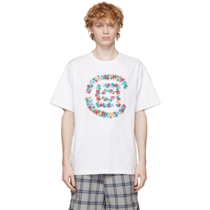 Clot CLOT WHITE FLOWERS LOGO T-SHIRT