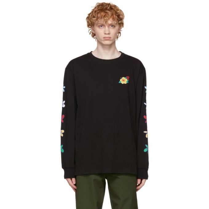 Clot CLOT BLACK FLOWERS PRINT LONG SLEEVE T-SHIRT