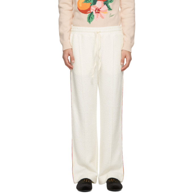 CASABLANCA CASABLANCA OFF-WHITE PIPED TERRY LOUNGE PANTS