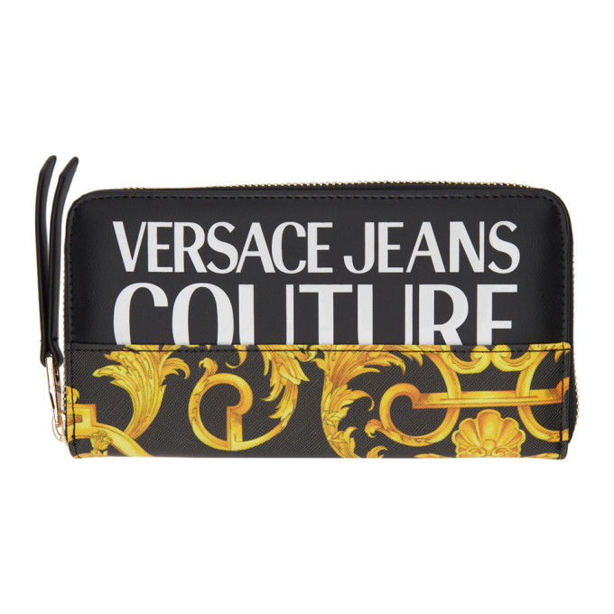 Versace Jeans Couture Wallets VERSACE JEANS COUTURE BLACK AND GOLD BAROCCO PRINT WALLET