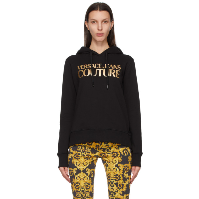 Versace Jeans Couture Cottons VERSACE JEANS COUTURE BLACK AND GOLD INSTITUTIONAL LOGO HOODIE