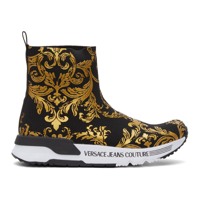 Versace Jeans Couture Boots VERSACE JEANS COUTURE BLACK AND GOLD BAROQUE DYNAMO SNEAKERS