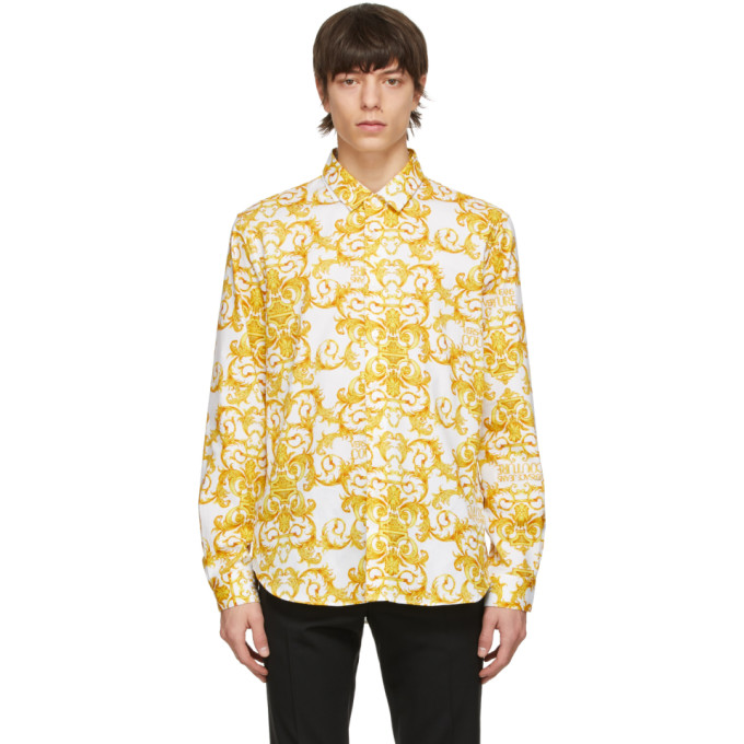 Versace Jeans Couture White & Gold Logo Baroque Print Shirt In E003 White