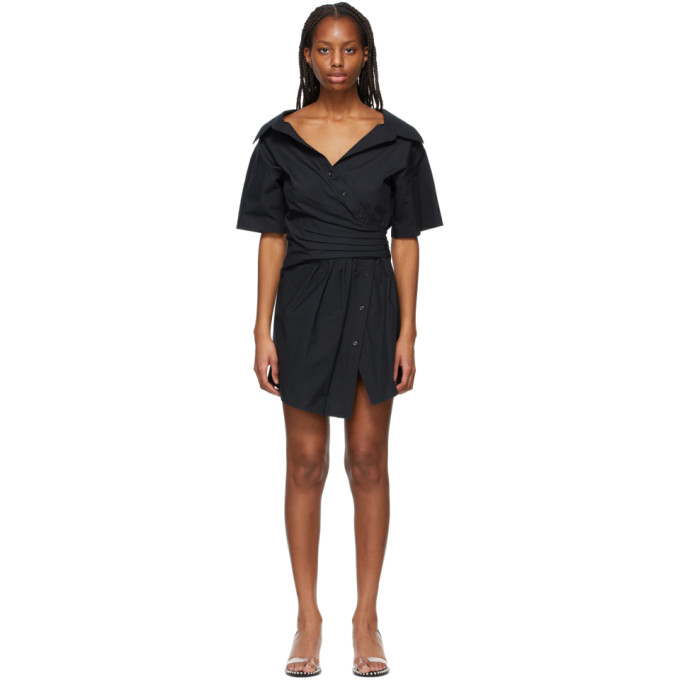 Alexander Wang T ALEXANDERWANG.T BLACK GATHERED BUTTON-DOWN DRESS