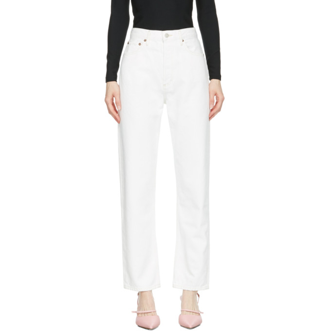 Agolde AGOLDE WHITE 90S PINCH WAIST HIGH-RISE STRAIGHT JEANS