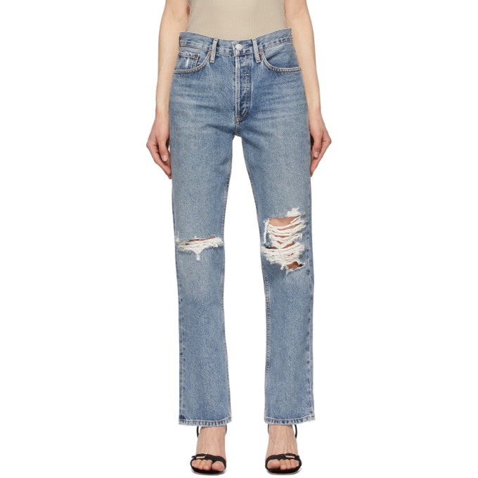 Agolde Clothing AGOLDE BLUE LANA MID-RISE VINTAGE STRAIGHT JEANS
