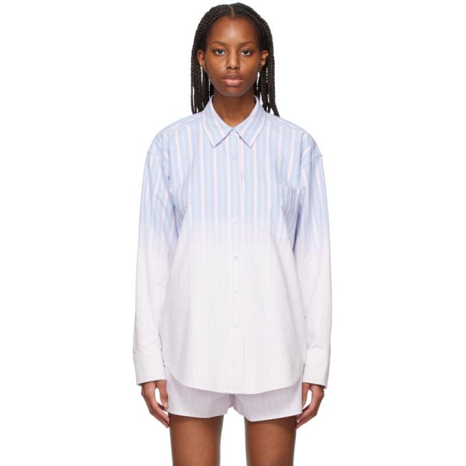 Alexander Wang T Alexanderwang.t Blue And Pink Ombre Button-down Shirt In 426 Oxford Blue Mult