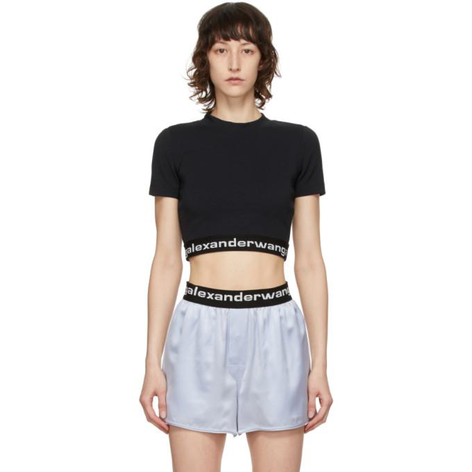 alexanderwang.t 黑色 Baby 短款徽标 T 恤