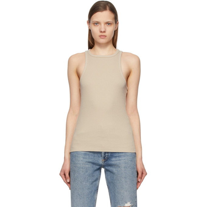 Agolde Cottons AGOLDE BEIGE RIB HIGH NECK TANK TOP