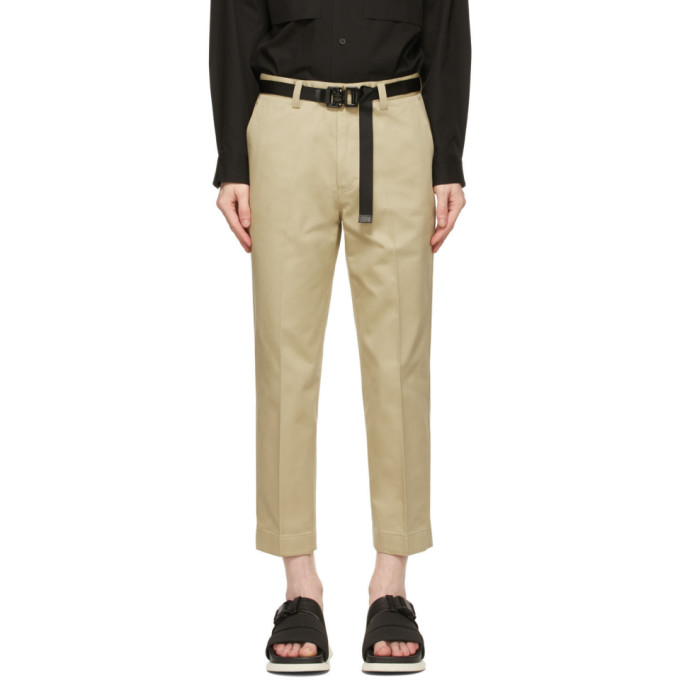 Solid Homme SOLID HOMME BEIGE CROPPED CARPENTER TROUSERS