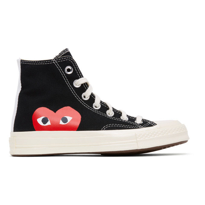 Comme Des Garçons Play COMME DES GARCONS PLAY BLACK CONVERSE EDITION HALF HEART CHUCK 70 HIGH SNEAKERS